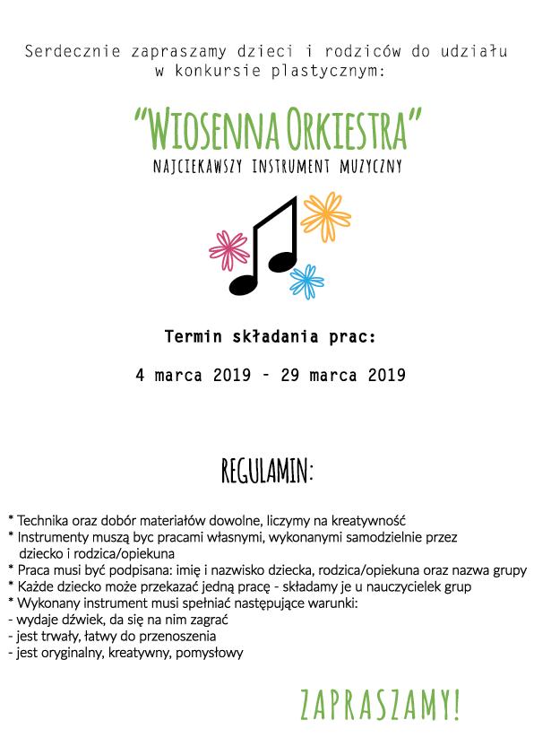 plakat zachęcający do udziału w konkursie Wiosenna Orkiestra