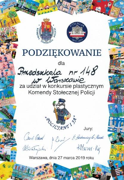 podziękowanie dla przedszkola numer 148 za udział w konkursie plastyczny, Komendy stołecznej Policji