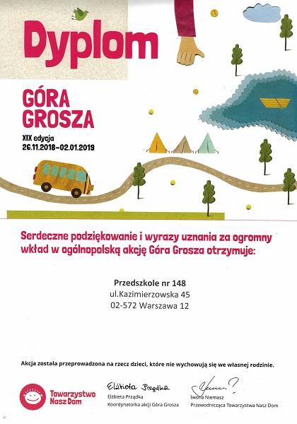 Dyplom za udział w akcji Góra Grosza