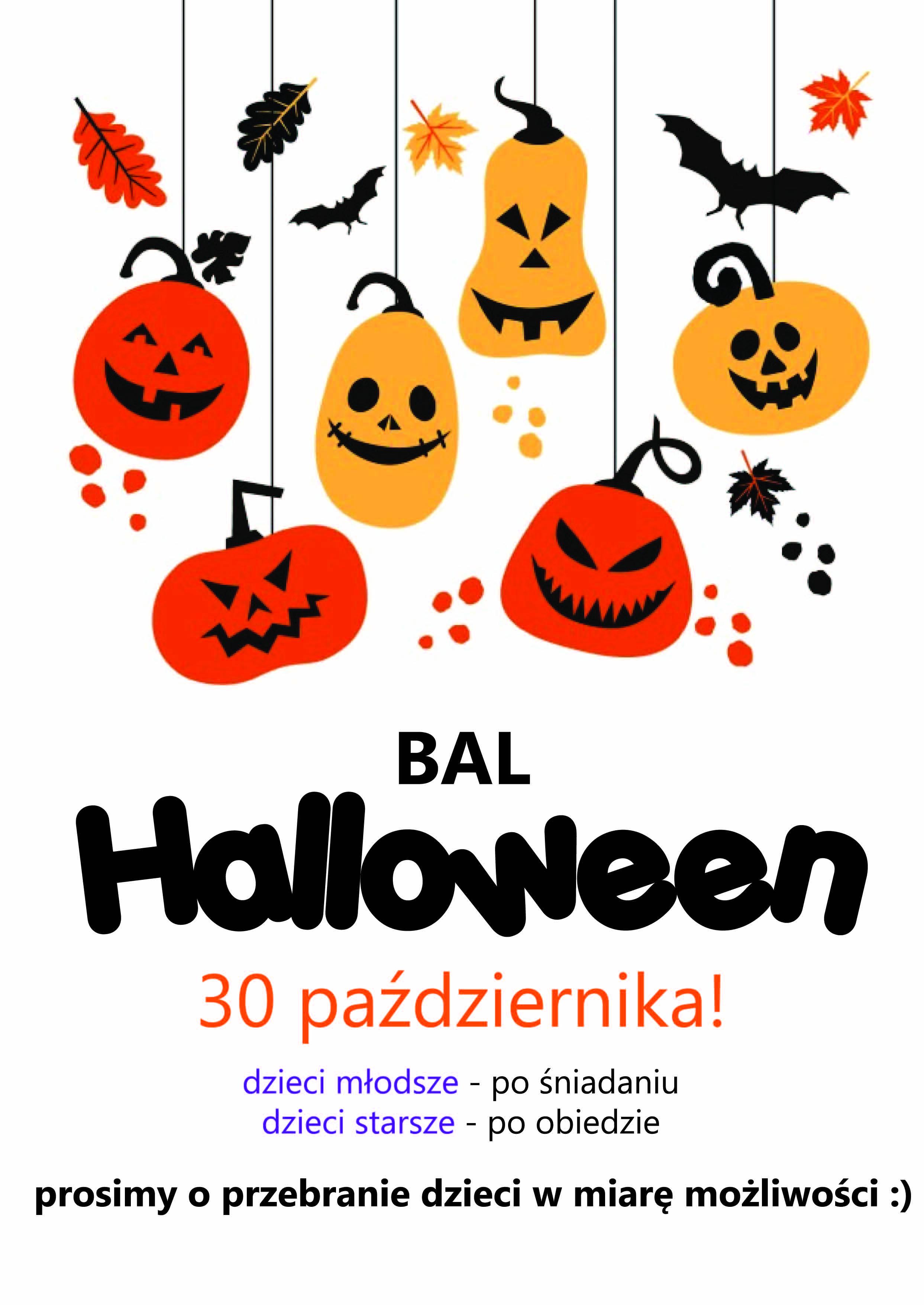 Plakat informujący o Balu Halloweenowym, który odbędzie się 30 października