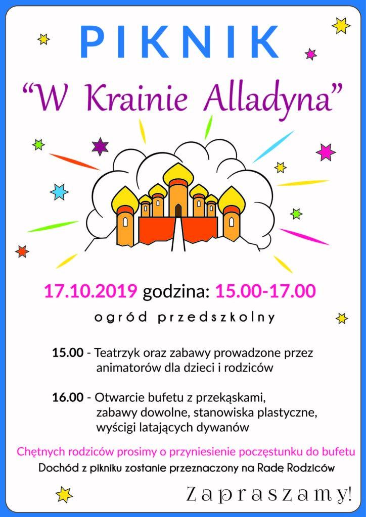 Piknik w Krainie Alladyna 17 października 2019 godzina 15.00 - 17.00
