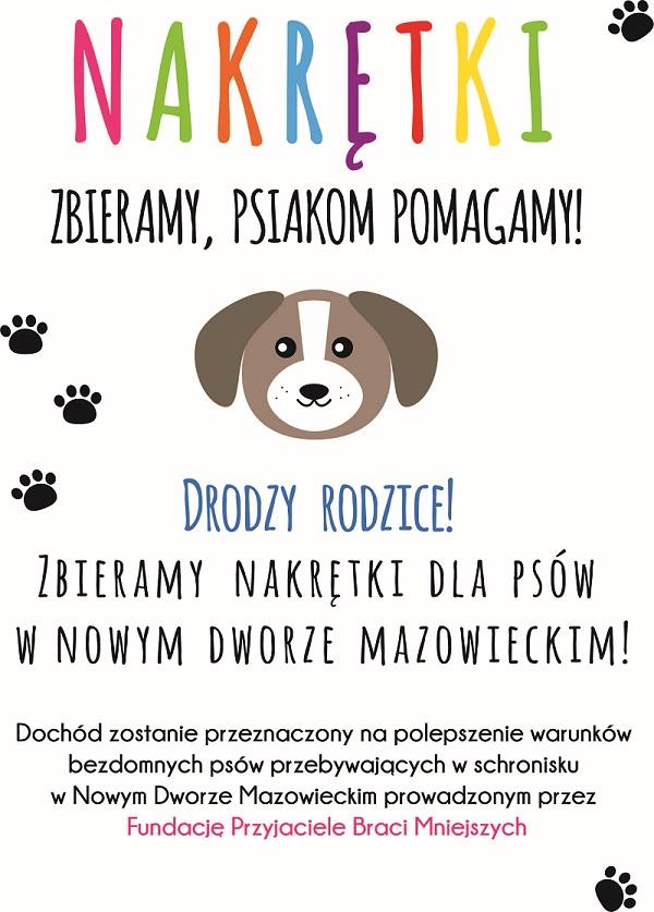 plakat: Nakrętki zbieramy, psiakom pomagamy : zbieramy nakrętki na psów ze schroniska w Nowym Dworze Mazowieckim