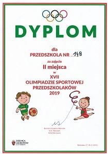 Dyplom dla Przedszkola 148 za zajęcie drugiego miejsca w siedemnastej olimpiadzie sportowej przedszkolaków