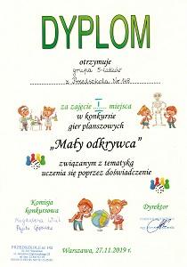 Dyplom za zajęcie pierwszego miejsca w konkursie Mały odkrywca