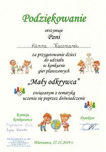 Podziękowanie dla Hanny Kaczmarek za przygotowanie dzieci do konkursu Mały Odkrywca