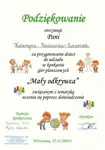 Podziękowanie dla Katarzyny Roszkowskiej-Świerczek za przygotowanie dzieci do konkursu Mały odkrywca