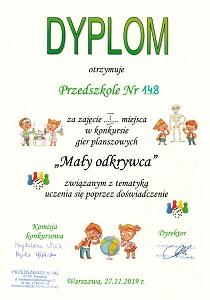 Dyplom dla Przedszkola 148 za zajęcie pierwszego miejsca w konkursie MAły Odkrywca