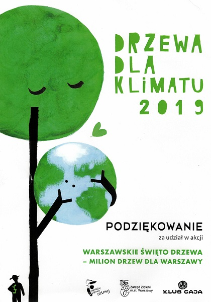 Podziękowanie dla Przedszkola nr 148 za udział w akcji Warszawskie Święto Drzewa - Milion Drzew dla Warszawy