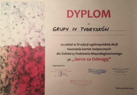 Dyplom dla grupy Tygrysków za udział w IV akcji tworzenia kartek świątecznych dla żołnierzy Serce za odwagę
