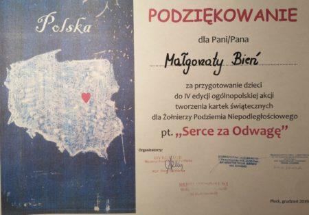 Podziękowanie dla Małgorzaty Bień za przygotowanie dzieci do wykonania kartek świątecznych dla żołnierzy Serce za odwagę