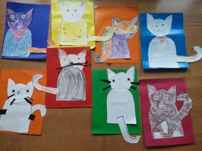 prace plastyczne dzieci: papierowe koty