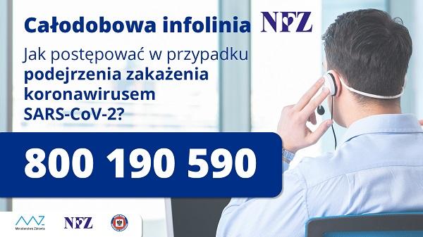 Informacja o całodobowej infolinii NFZ tel: 800 190 590