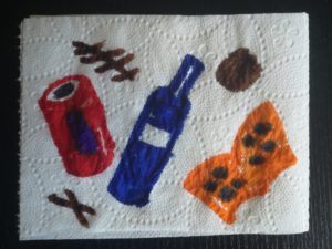 zdjęcie rysunku wykonanego na listku papieru toaletowego