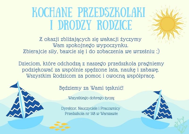 Życzenia wakacyjne dla dzieci i rodziców oraz dyrektora, nauczycieli i pracowników przedszkola