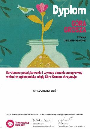 Podziekowanie dla Małgorzaty Bień za udział w XX edycji Góra Grosza