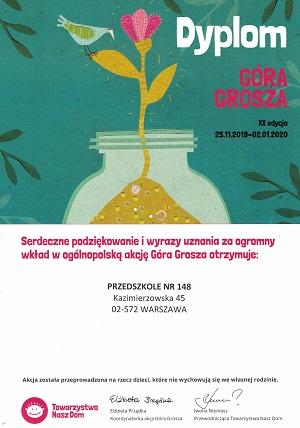 Podziekowanie dla przedszkola za udział w XX edycji Góra Grosza