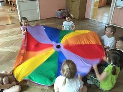 zdjęcie dzieci bawiących się chustą animacyjną