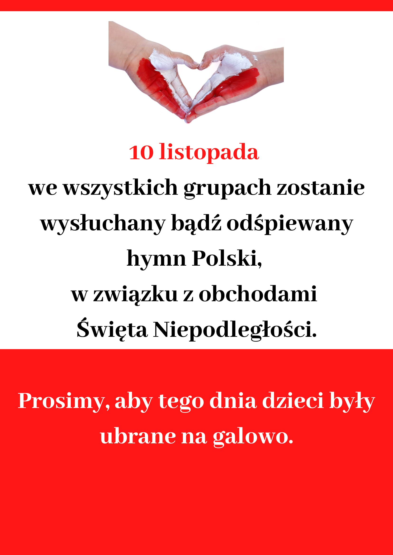 Plakat z informacją o obchodach Święta Niepodległości