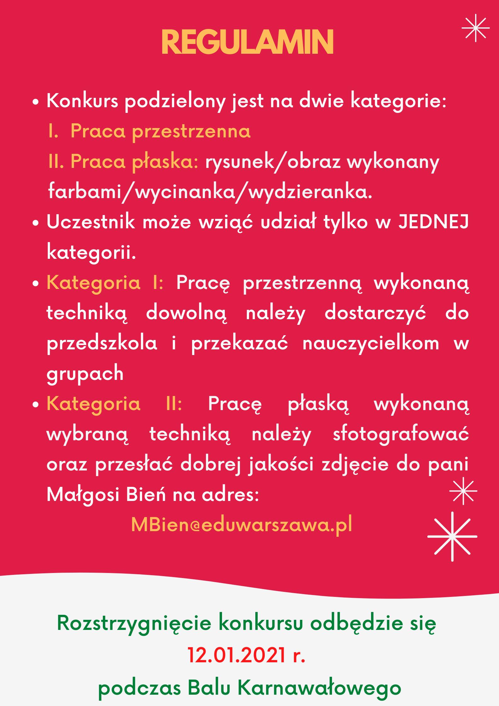 plakat z regulaminem konkursu