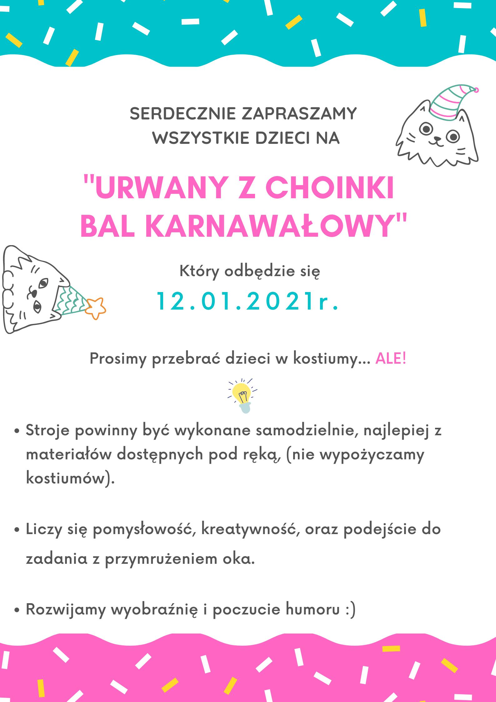 Plakat z zaproszeniem na bal karnawałowy
