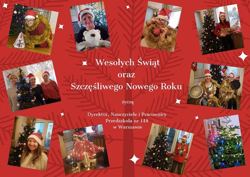 Świąteczne zdjęcia oraz życzenia świąteczne i noworoczne pracowników Przedszkola nr 148 w Warszawie