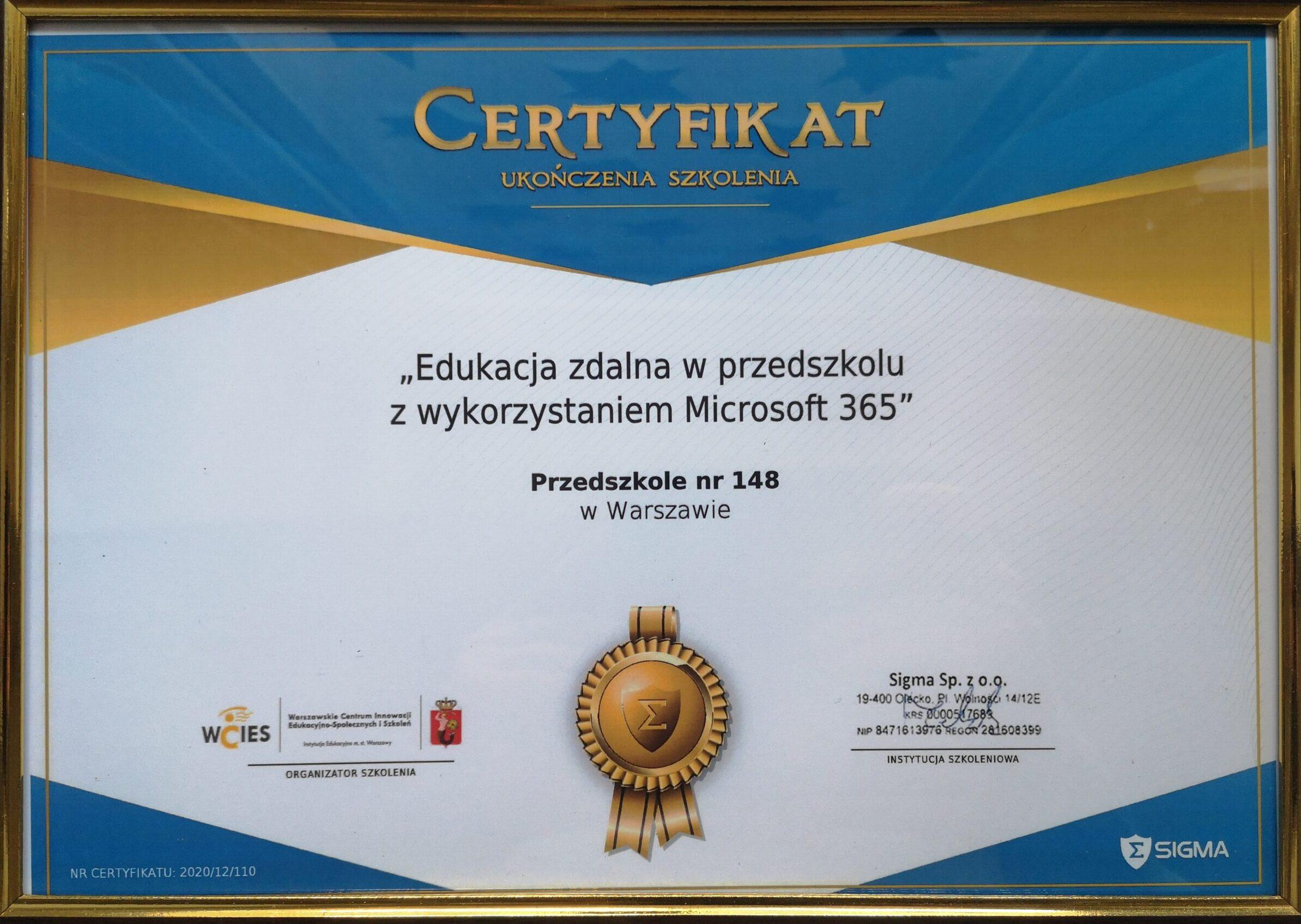 """zdjęcie certyfikatu ukończenia szkolenia """"Edukacja zdalna w przedszkolu z wykorzystaniem Microsoft 365"""""""
