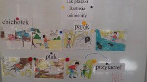 Tablica magnetyczna. Na niej siedem ilustracji oraz napisy: Jak ptaszki Bartusia odmieniły, chichotek, pająk, ptak, przyjaciel, nie.