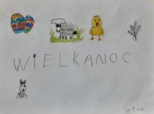rysunek dziecka o tematyce wielkanocy