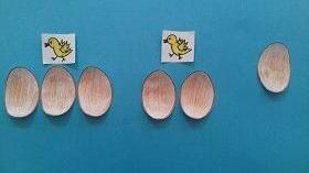 Na niebieskim tle znajduje się po sześć brązowych jajek i żółtych kurcząt. Pięć jajek leży pod dwoma kurczętami, a jedno leży obok