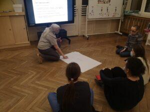 nauczycielka pokazuje coś na kartonie, który leży na podłodze innym nauczycielkom.