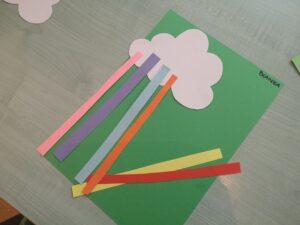Praca plastyczna: Papierowa chmurka i tęcza