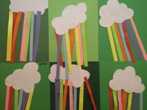 Prace plastyczne dzieci: papierowe chmurki z tęczą