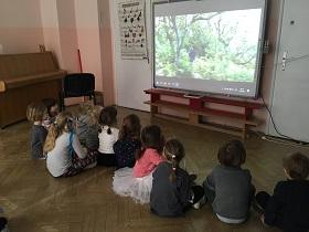 Dzieci siedzące na podłodze w siadzie skrzyżnym i oglądające film na tablicy interaktywnej. Na tablicy widać zielone drzewa.