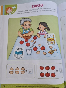 Karta pracy - Ciasto. Na ilustracji znajduje się babcia i dziewczynka, które robią ciasto z jajek, mąki i jabłek