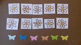 Na brązowym tle znajduję się dziesięć narysowanych kwiatków oraz sześć motylków.