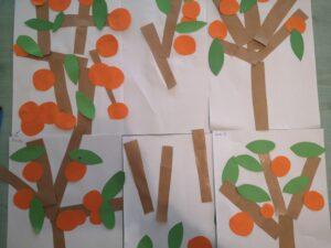 Papierowe drzewka pomarańczowe