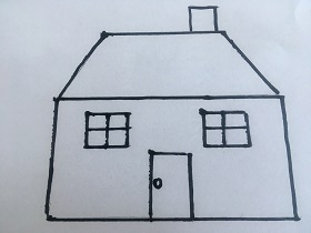 Na białej kartce A4 znajduję się narysowany dom