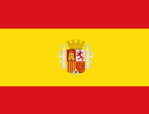Flaga Hiszpanii w kolorach żółtym i czerwonym. Na żółtym tle znajduję się herb Hiszpanii