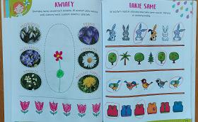 Karty pracy. Na ilustracjach znajdują się kwiatki oraz obrazki zajączków, drzew, ptaszków oraz kamizelek