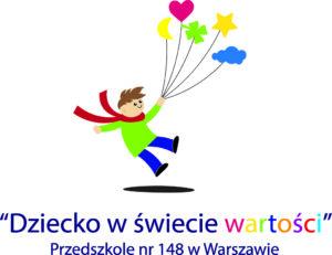 """Logo programu """"Dziecko w świecie wartości"""" opracowanego i realizowanego przez nauczycieli Przedszkola nr 148 w Warszawie"""