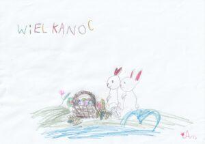 rysunek dziecka: dwa króliczki