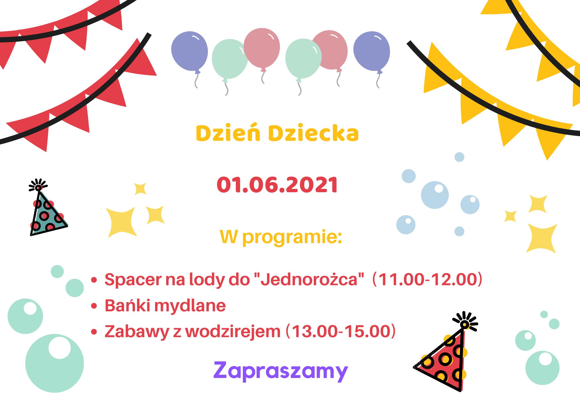 plakat z zaproszeniem na dzień dziecka