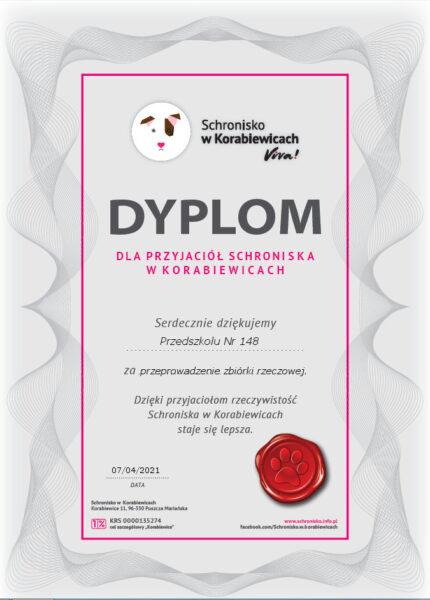Dyplom za udział w akcji charytatywnej dla przyjaciół schroniska w korabiewicach
