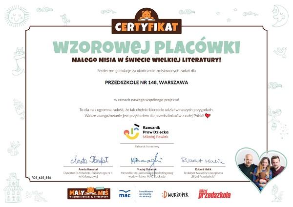 Certyfikat wzorowej placówki dla Przedszkola nr 148 w Warszawie za udział w projekcie Mały Miś w świecie wielkiej literatury w roku szkolnym 2020/2021