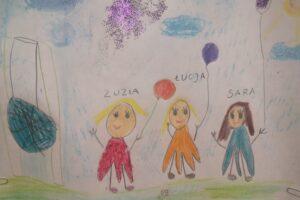 Praca plastyczna dziecka, na której znajdują się trzy postaci dziewczynek, które trzymają balony w rękach. Obok nich znajduję się huśtawka. Napisy: Zuzia, Łucja, Sara.