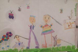 Praca plastyczna dziecka, na której znajdują się postaci dziewczynek i rodziców oraz kota.