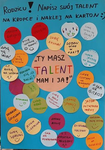 Rodzicu! Napisz swój talent na kropce i naklej na karton - naklejone kolorowe kółka, na których wpisane są talenty rodziców.